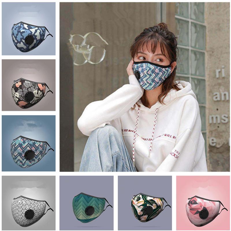 Unisex maschera di protezione Maschere Estate Uomo Donna di stampa 3D con PM2.5 Filtro sfiato della valvola anti-fog antipolvere mascherina mascherine di protezione esterna Articoli da regalo