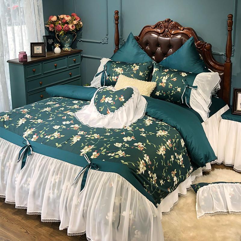 Pastorale americana anni '60 del cotone regola letti di lusso Regina King Size principessa verde scuro vintage letto di set da letto floreale DuvetCover lenzuolo