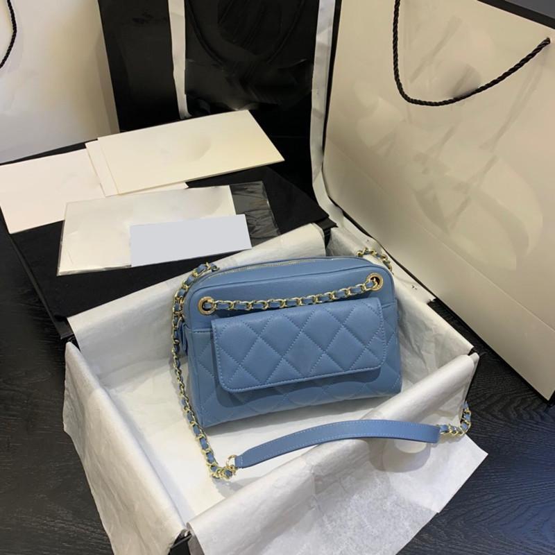 accesorios de la nueva señora de bolso clásico 7A de alta gama alta calidad de tendencia de la moda informal estilo de metal y correas largas.