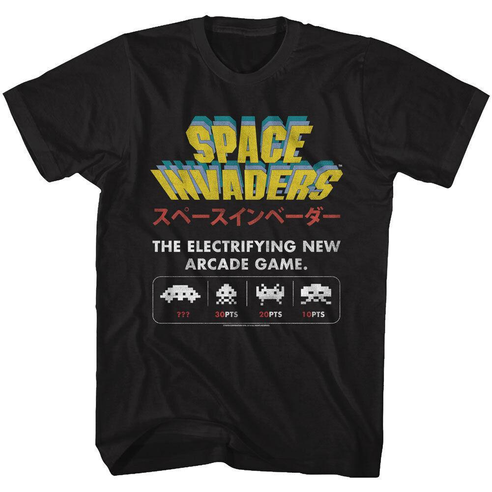 Space Invaders T-shirt Tailles SM - 5XL New Arcade Jeu 100% coton noir