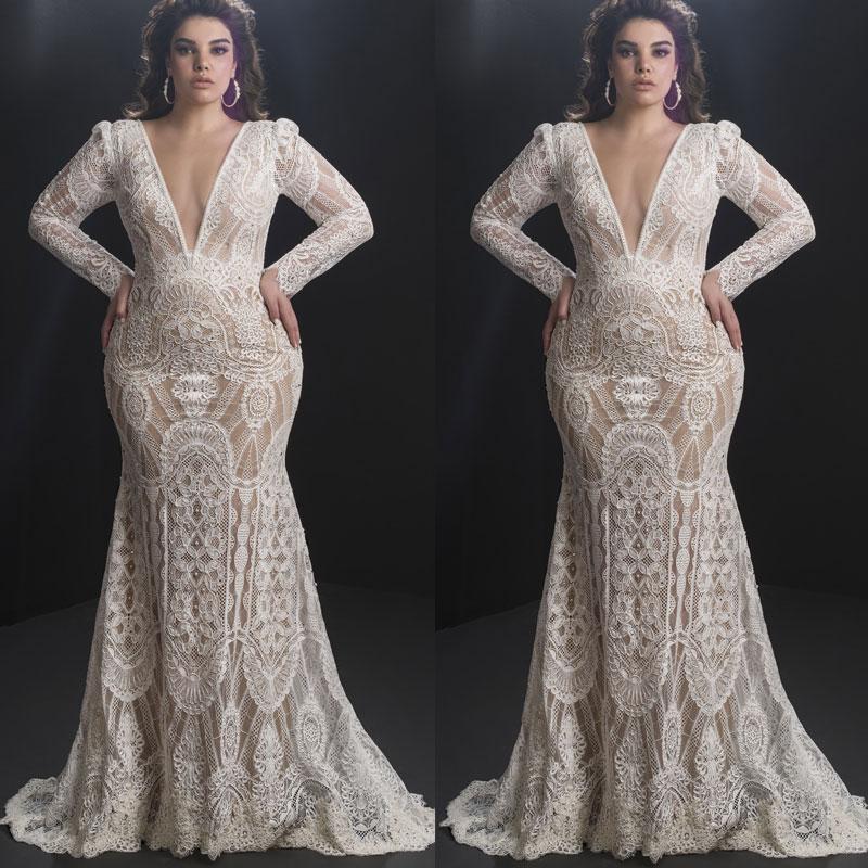 De manga larga vestidos de novia de sirena para las niñas novia vestidos de novia de encaje apliques Beach columna de la envoltura por encargo