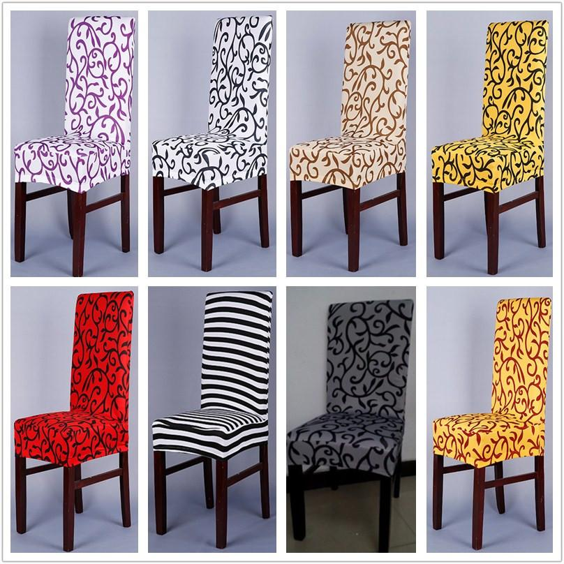 1 Piece Sure Fit Soft Stretch Spandex Pattern Chair Covers For Kitchen Chair Short Dining Cover Purple Grey 49