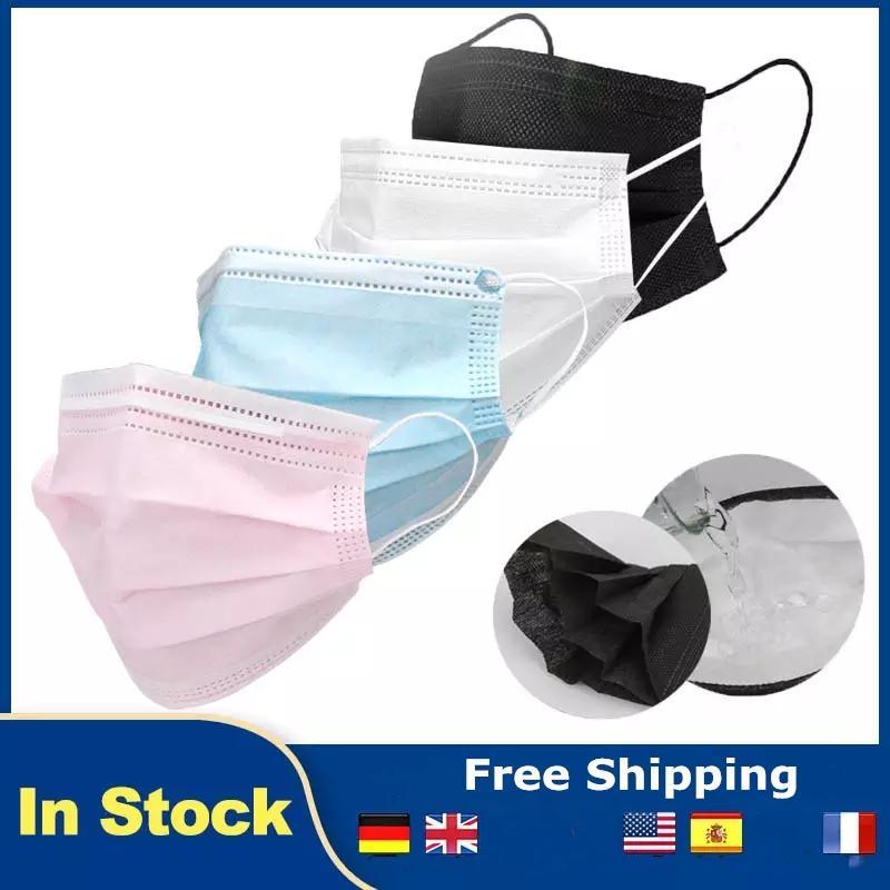 Einweg-Gesichtsmasken Schwarzes Rosa Weiß mit elastischer Ohrschleife 3-Ply-atmungsaktive Staubluft-Anti-Umweltverschmutzung von Erwachsenen Mundpartei Masken