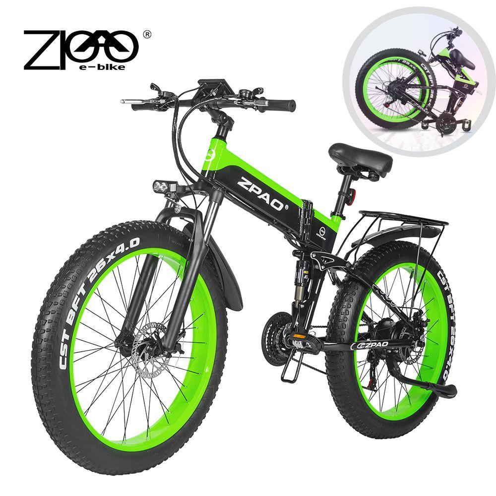 ZPAO Fat bicicleta Bicicleta elétrica por e Bikes Bike1000W dobrável elétrico Bicicleta Eletrica 26inch 4,0 pneus gordos Montanha e-bike