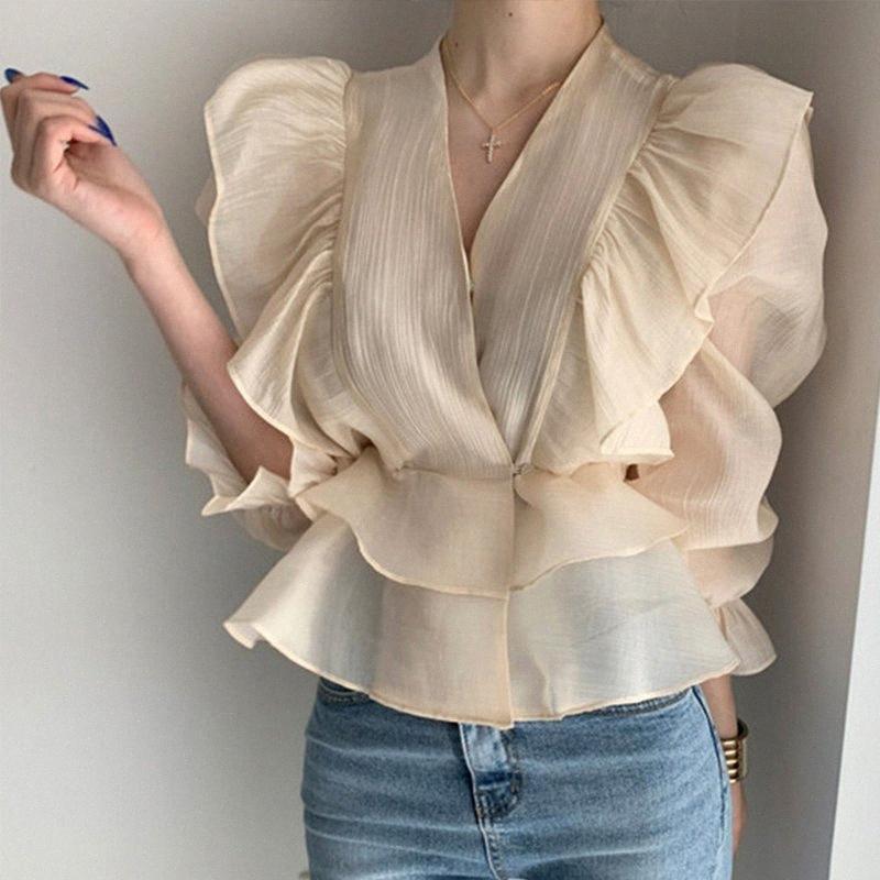Летний Lace Up Гофрированные V-образным вырезом Женские блузки Длинные Flare рукавом Женский Блуза 2020 Осень New See Through офис дамы Топы 31AX #