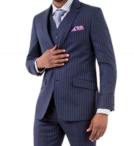 Casual Düğün Çizgili Erkekler Custom Made Smokin Skinny Erkekler Suits 3 adet Blazer Terno Slim Fit Blzer Ceket + Yelek + Pantolonlar Takımlar