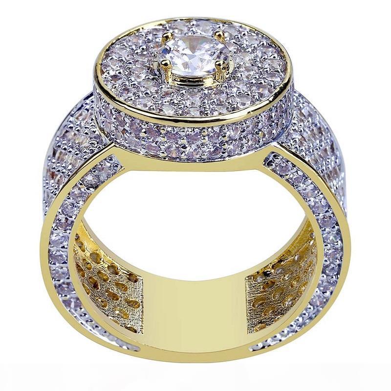 Mens Hip Hop-Goldringe Schmuck neue Art und Weise gefriert heraus Ringe Kristalledelstein-Simulation Diamant-Ringe für Männer