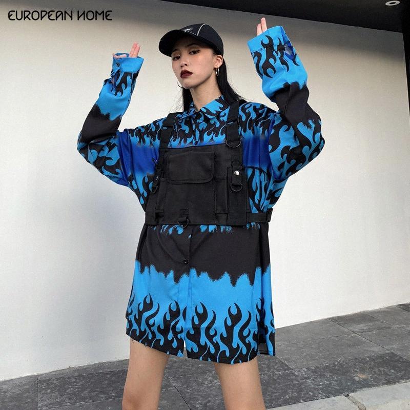 Nueva Primavera blusa de la ropa de las mujeres coreanas del estilo más la camiseta floja larga Camiseta Streetwear azul retro Imprimir la llama de manga larga Tops T80 L3Jp #