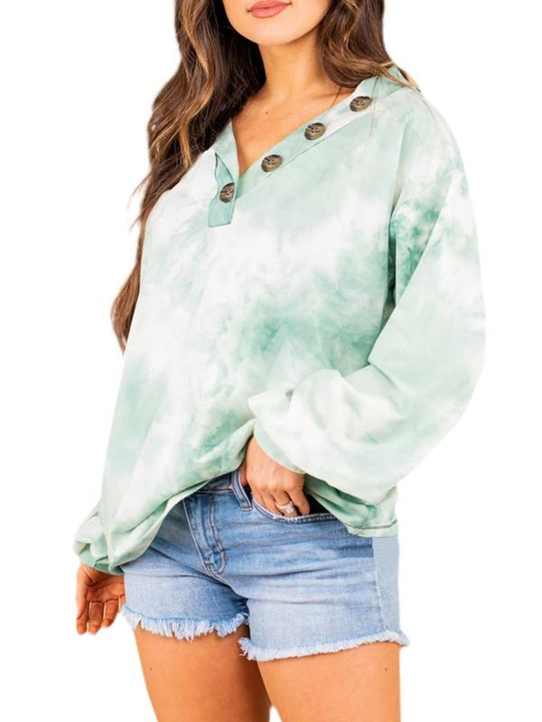 Feminino Tie Dye Long Sleeve Moletons V Neck largas Tops capuz