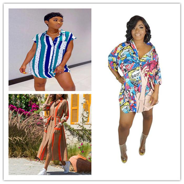 Yaz Kadın Tasarımcı Gömlek Modelleri Moda Dijital Baskılı Uzun Kollu Elbise Günlük Yaka Boyun Gevşek Kadınlar Dressess Giyim