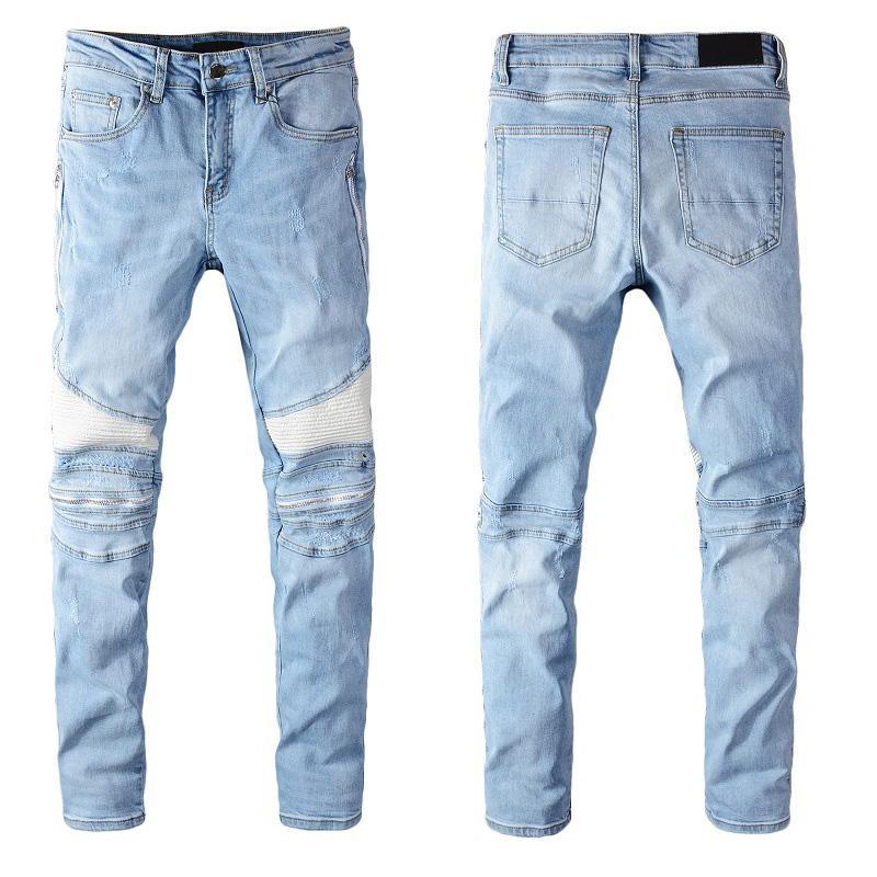 Mens Designer Denim Jeans afligido rasgado Biker Jeans Slim Fit Motociclista Denim Jeans Moda Outono Calças todo o tamanho disponível
