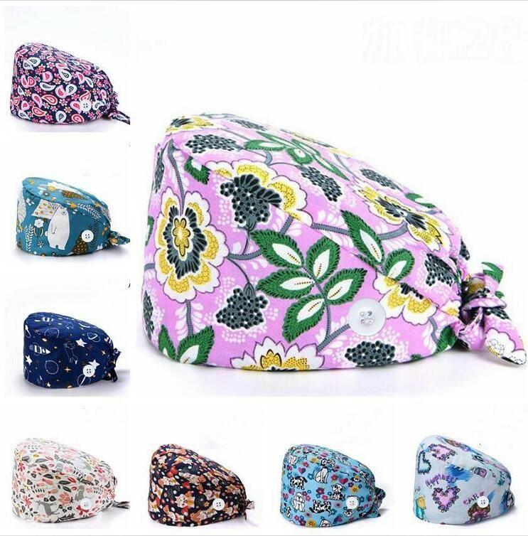 do botão de esfrega Cap ajustável Doutor Bouffant Chapéus Tafilete Tie Voltar Headwear dos desenhos animados Enfermeira Chapéus Big Girls Priting Trabalho Acessórios ALSK418