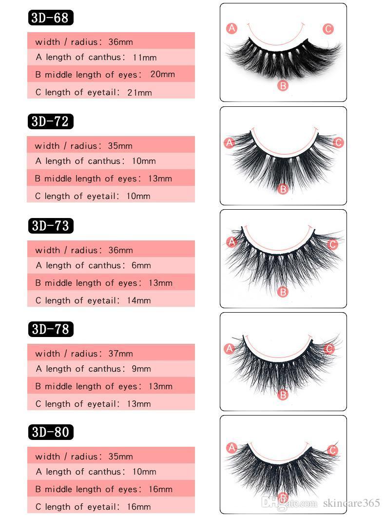Mink pestañas de pelo grande 3D 25 estilos Manual multi-capa 100 de visón Real pestañas encrespadas y herramientas Slender Extensión embellecer las pestañas 3D 25MM