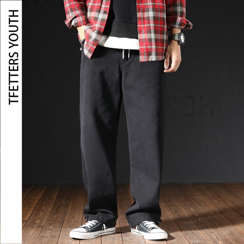 TFETTERS a gamba larga Jeans Uomo Primavera Autunno Pantaloni giapponese Large Size diritto allentato elastico in vita Maschio Pantaloni jeans coppia