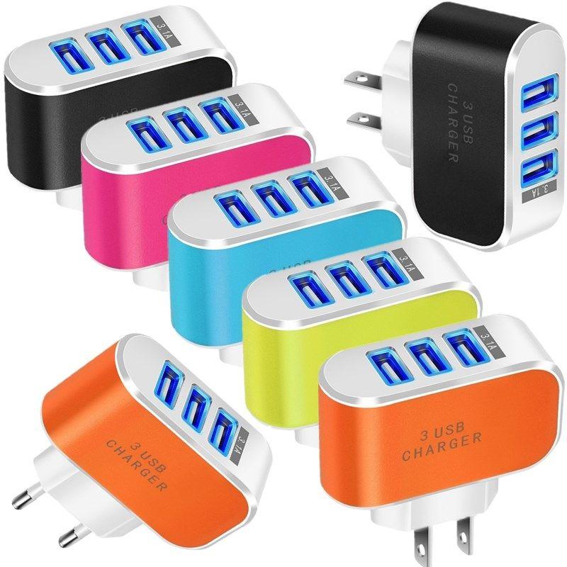 5V 3.1A 3 USB-порты ЕС US AC Home Настенное зарядное устройство адаптер питания для Samsung S8 S9 S10 HTC iPhone Andriod Phone