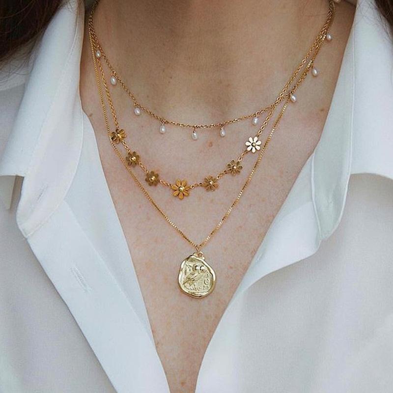Ожерелье слой Мода Геометрическая кулон Мульти для женщин золото Цветы Wihite Pearl Stone Chain Chocker оптовой продажи ювелирных изделий