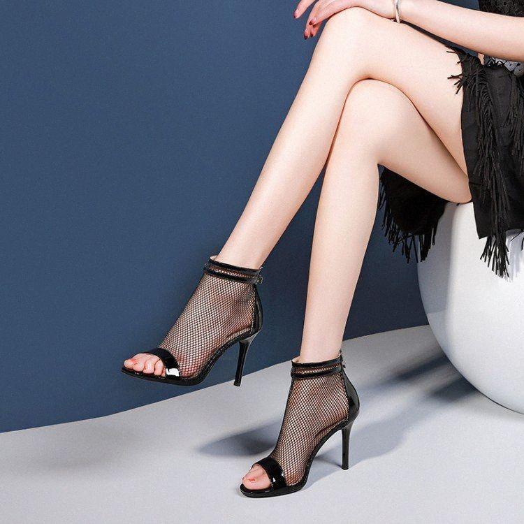 2019 neue Art und Weise Frauen-Blick-Zehe-Absatz-Mesh-Boot Sommer-Sandelholz-Frau Ankle Boot Damen Kleid Wedding Banquet Schuhe Stiefel Schuh O TREFFERx #