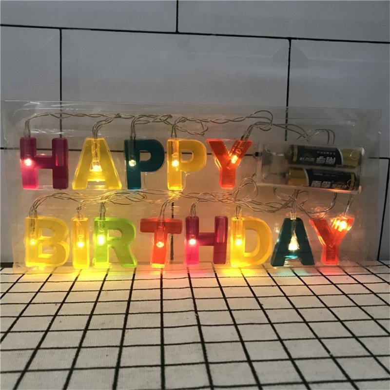 Catena Buon Compleanno Lettera luce senza batteria Festa di Natale Giorno Disposizione della lampada della stringa di modo Bardian di vendita caldi 8 J1 9wc