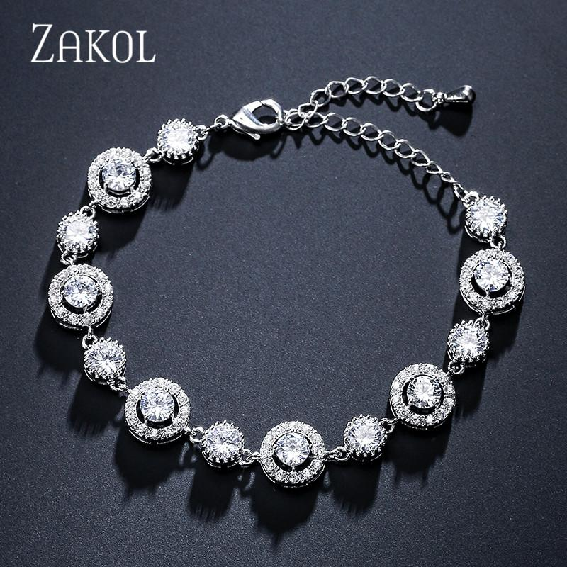 Forma Redonda ZAKOL Moda 3 cores elegantes Cubic Zirconia Tennis Bracelet Pulseira por FSBP2152 Jóias Mulheres casamento nupcial