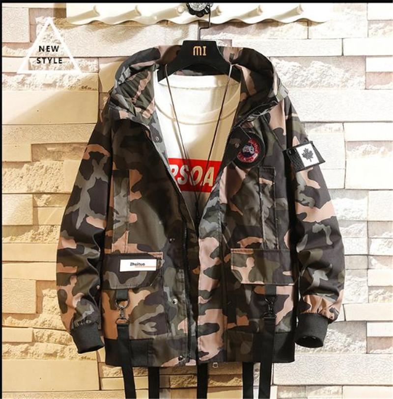 Hooded Teenagers Mens Designer Hip Hop Streetwear avec poches Vestes Noir Camouflage Hommes Automne Hiver Lettre
