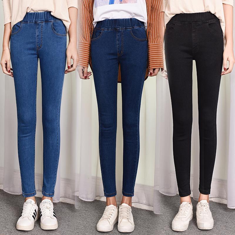 2020 nuevo de la vendimia más el tamaño 4XL 5XL del medio elástico de la cintura del estiramiento del tobillo Mom Jeans de mujeres flacos de las Mom Jeans