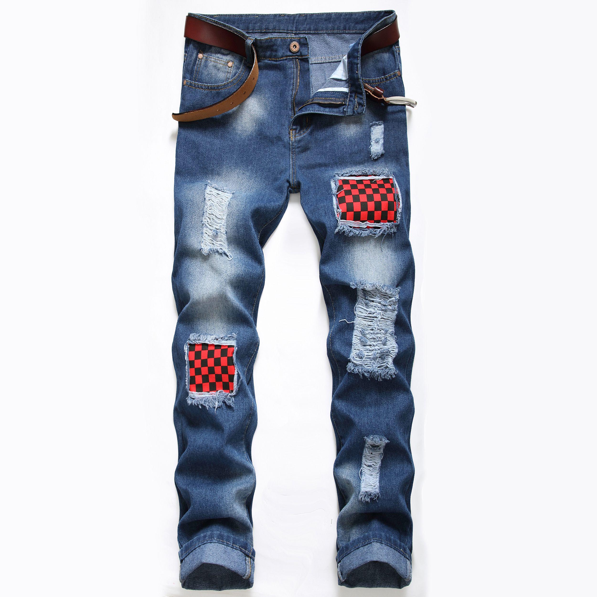 Al por mayor-Hombres flacos rasgados recta elástico delgado Denim Fit motorista Los pantalones vaqueros de los pantalones largos rectas con estilo adelgazan los pantalones vaqueros