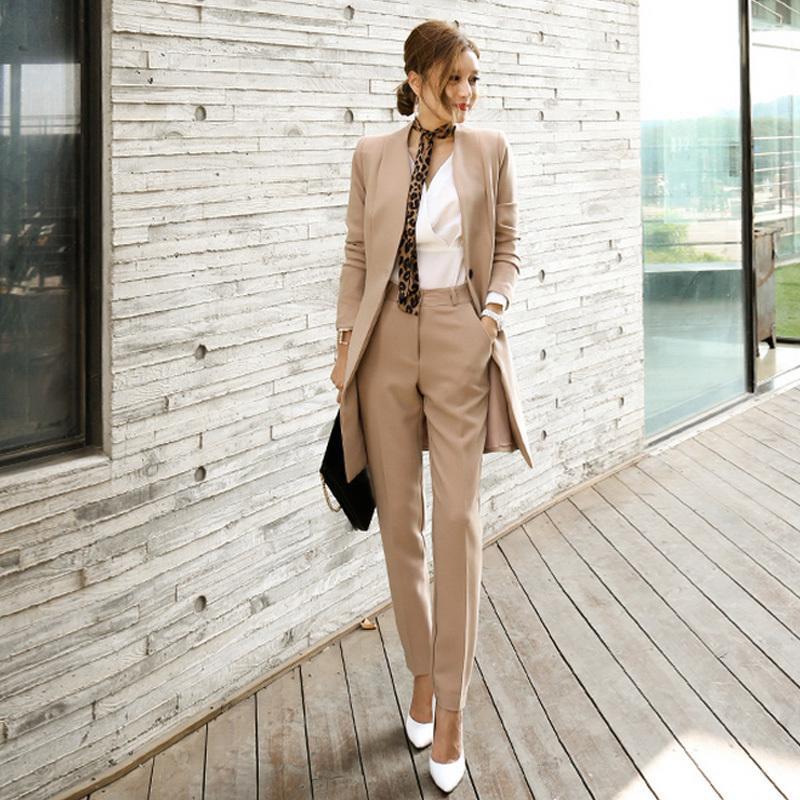 Hose-Klagen für Frauen Blazer Set Herbst Lady Business Office Arbeit koreanische Art Uniform V-Ausschnitt Long Jacket Elegante Hosen-Anzüge