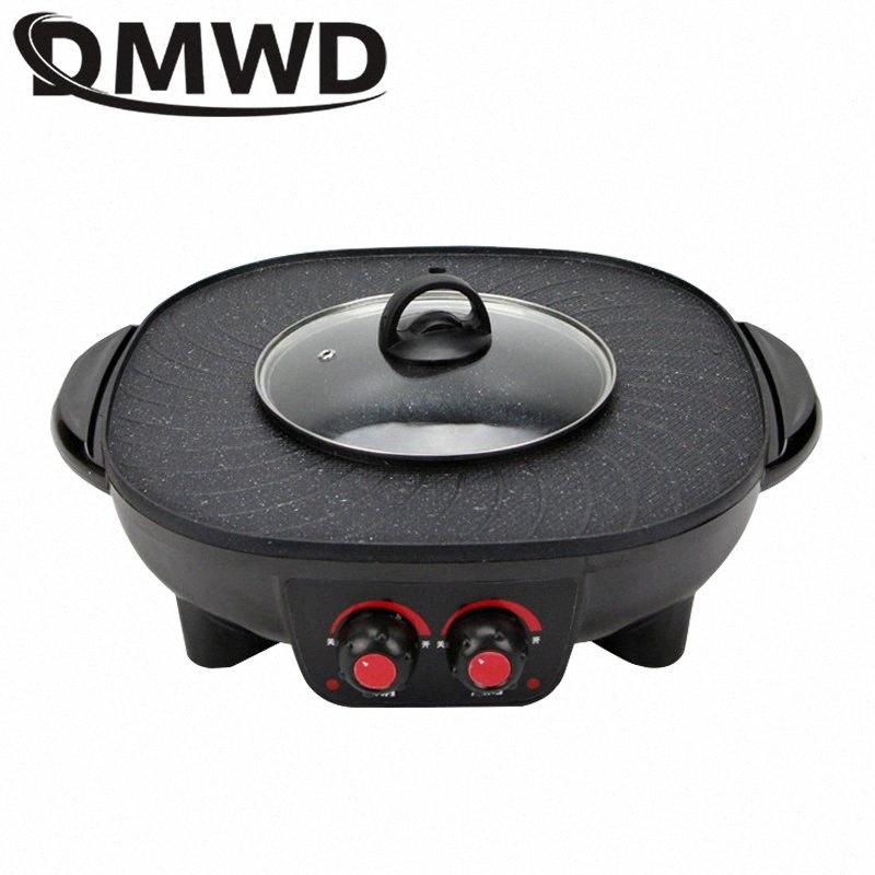 DMWD Electric Grills Smokeless Barbecue BBQ Machine Household Baking Tray Home Roasted Korean Multi Function Indoor Hot Pot EU wK2s#