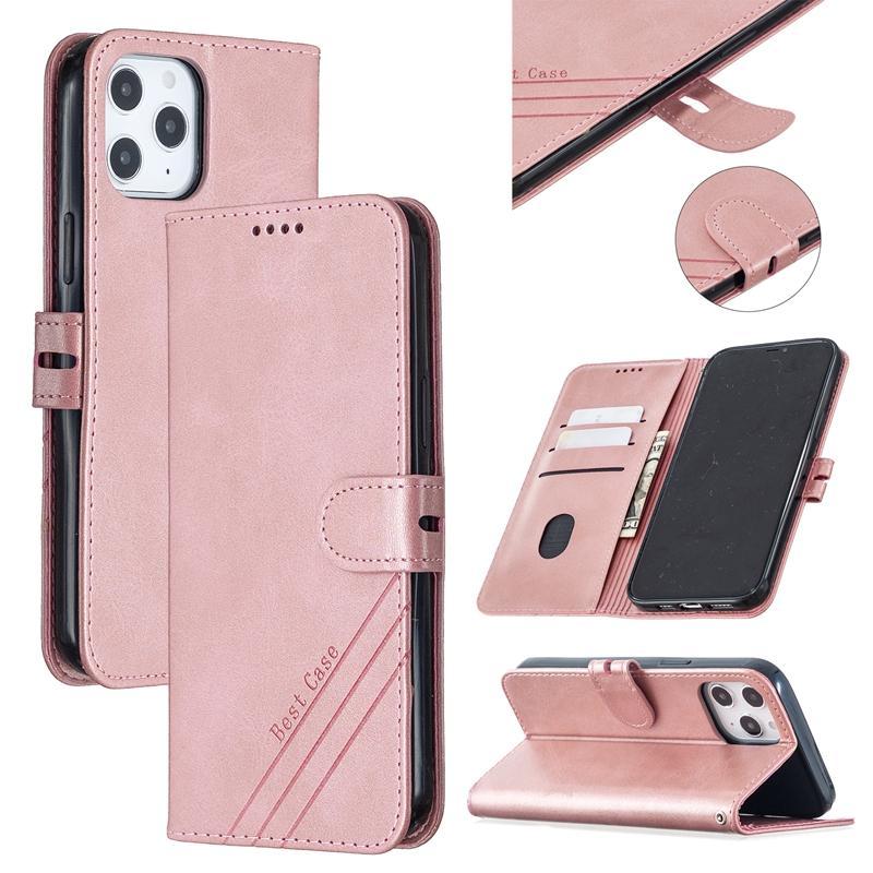 Retro-Leder-Mappen-Kasten für Samsung-Anmerkung 20 Ultra-A51 A71G 5G Iphone 12 2020 5.4 6.1 6.7 Geldbörse Flip-Cover-Halter Identifikation-Karten-Slot Beutel-Standplatz