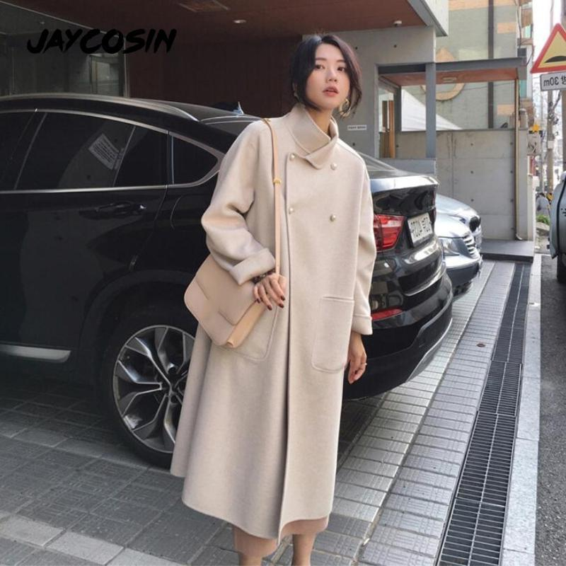 JAYCOSIN 2020 Wintermantel weiblich Zweireiher Revers Wollmantel elegantes klassisches loser Cappotto Fleece Warm Thick Manteau Femme