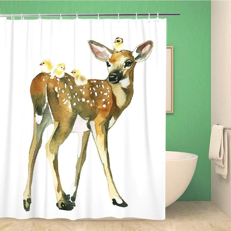 Cuarto de baño cortina de ducha Animales Pollos ciervos del cervatillo del bebé acuarela cumpleaños de los niños lindos de poliéster Tela 60x72 pulgadas