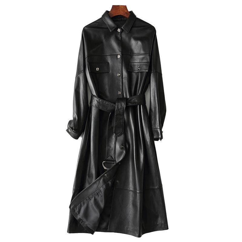 المرأة الجلود فو بارد واقية حقيقية جلد الغنم الحقيقي X- معطف طويل حزام سليم سترة سوداء مع حزام 2021 الشتاء