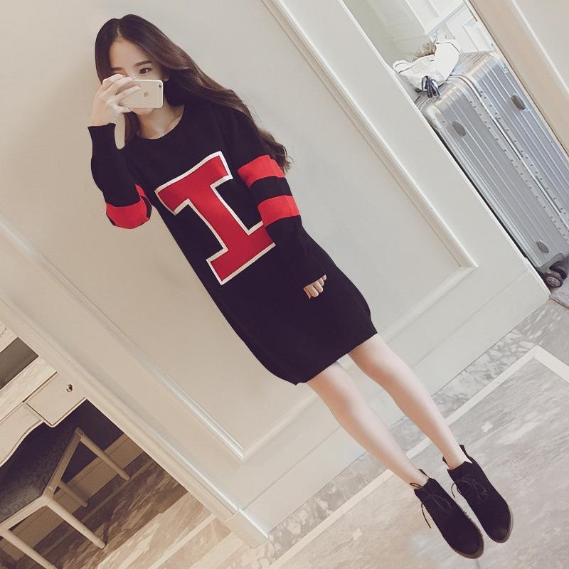 C4jNU terciopelo espesa vestido mitad de la longitud de invierno otoño tamaño de las mujeres del suéter suéter grande y ropa de moda estilo coreano sueltos