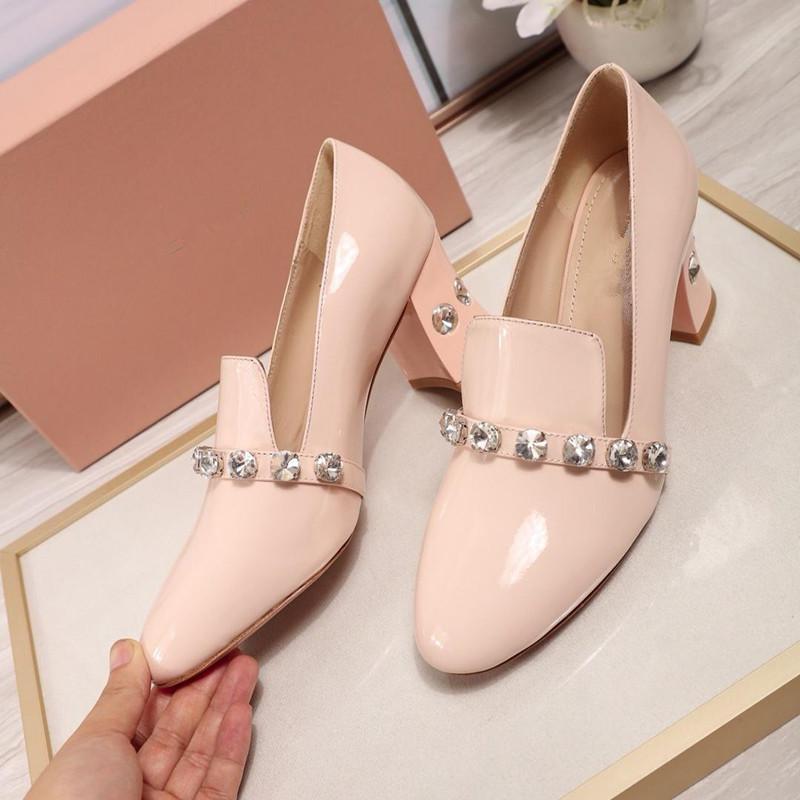 Cristallo di modo sottile di piccole scarpe scarpe di cuoio di vestito dalle donne signore superiori sexy scarpe tacco alto 6,5 centimetri bovina di alta qualità in vera pelle