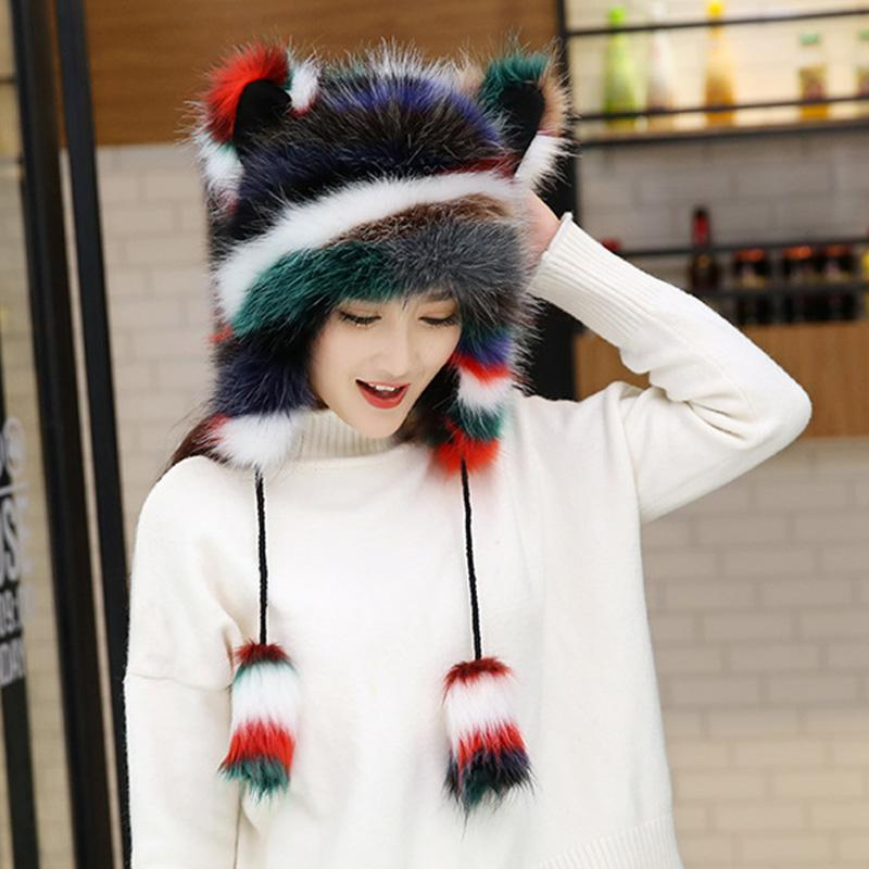 Beanie/Skull Caps Women Winter Plush Velvet Thickening Fur Hat Cute Cat Ears Warm Cartoon Pompom Hats Soft Fashion Girls Beanies