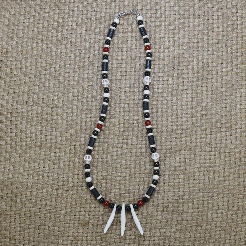 Rustikale handgemachte Hundezahn Halskette Männer Schädel-Halskette für Herren Accessoires handgemachte Stammes- Schmucksache-Geschenk für Ihn CO-15