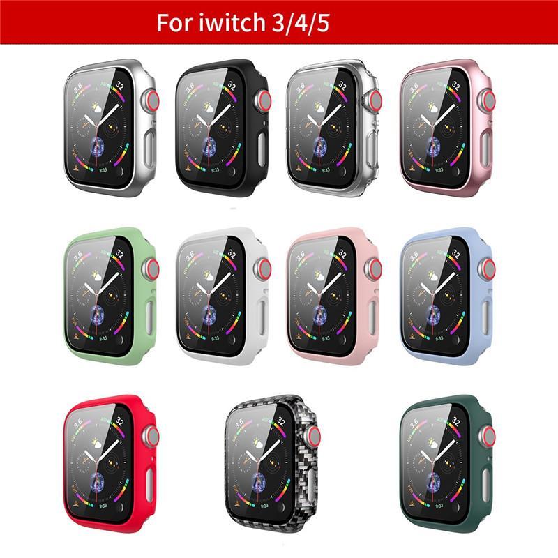 Boîtier PC + en verre trempé Film de protection écran protecteur pour Apple montre 4 5 6 SE Band 38MM 42MM 40MM 44MM