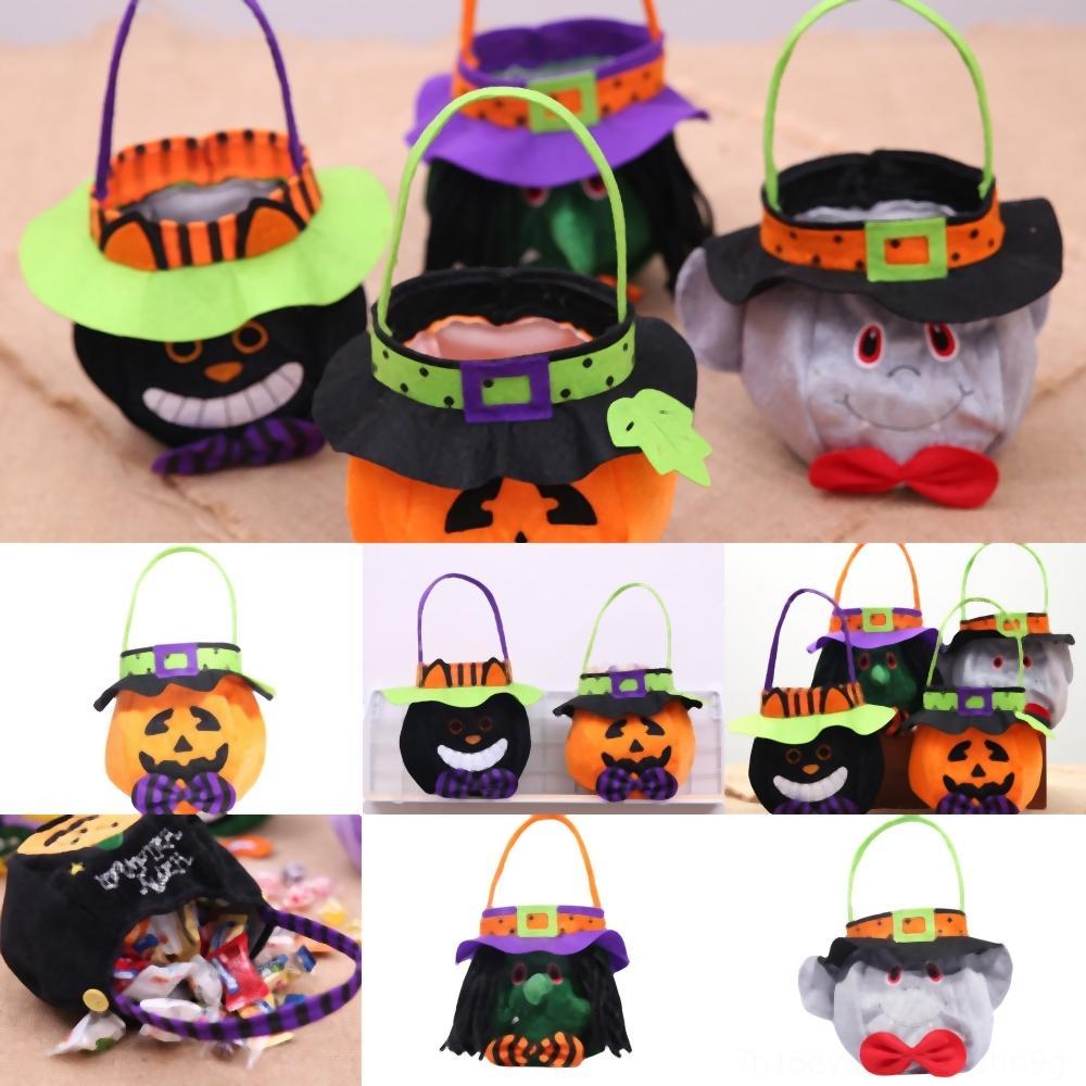 BJqCB Druck Geschenk Halloween-Süßigkeit Tasche Eimer Tasche Baby Spider Korb Süßigkeit Handtaschen Karikatur-Kind-TTA Tote Hauptpartei Festiavel Kapuze runde Fa