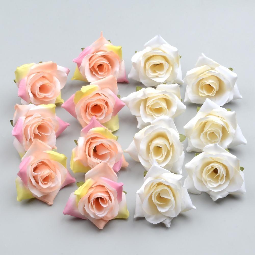 100PCS DIY Искусственный Белая роза цветы из шелка Голова Для дома Свадьба Украшение Венок Подарочная коробка скрапбукинг Поддельные Цветы T200103