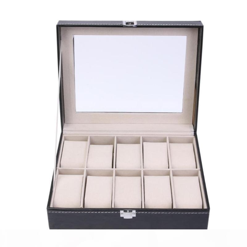 10 cuadrículas celular de la PU de cuero de cajas de reloj del organizador del almacenaje caja de la joyería del caso de exhibición del reloj Negro visualización del reloj Bo