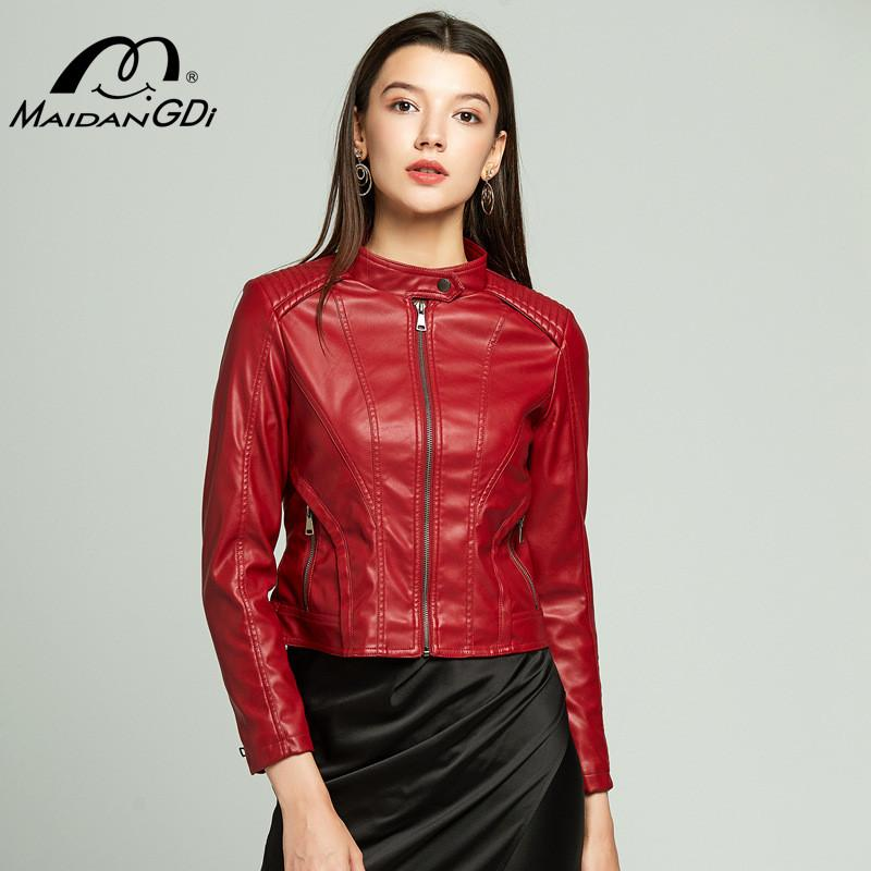 MAIDANGDI women leather jacket Ladies Woman coat New 2020 Spring Large Size PU Casual Full Regular Solid
