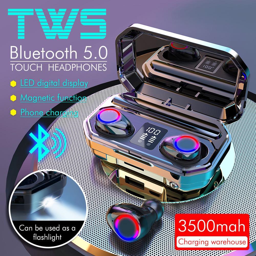 Novo M12 TWS Fones de Ouvido Sem Fio Bluetooth 5.0 Fone de Ouvido HiFi Waterproof Earbuds Touch Control Headset para Sport Gaming Headsets