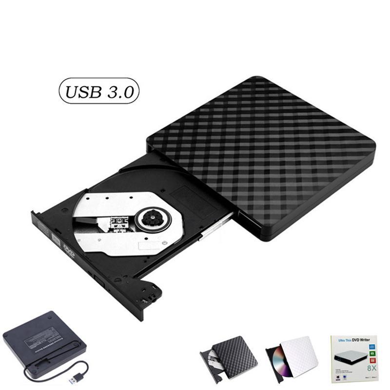 외부 DVD 드라이브 USB 3.0, 휴대용 CD DVD / -RW 광학 드라이브 버너 작성기 Windows 10/8 / 7 노트북 데스크탑 (블랙)