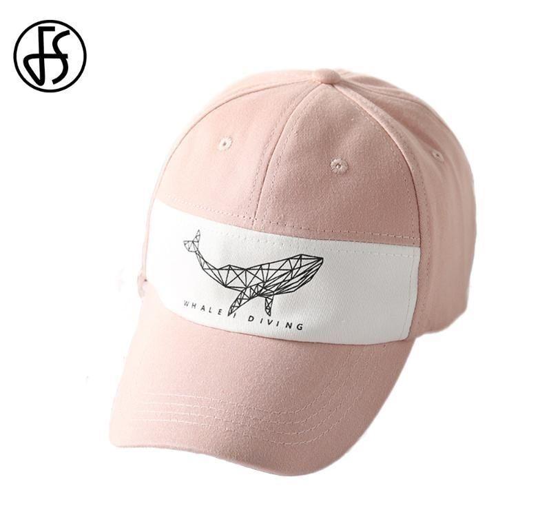 FS Fashion Baseball Cap Men Women Summer Animal Caps Whale Emnbroidery Cotton Pink Green Streetwear Gorras Animales Hombre 2019