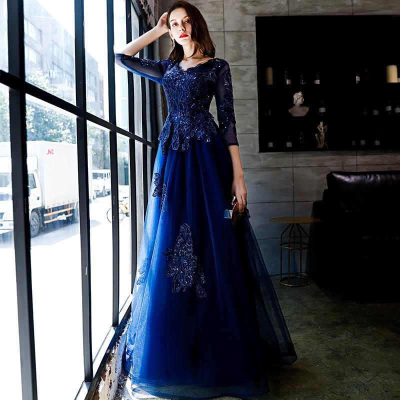 V Neck mangas compridas A linha de vestidos de noite para mulheres vestidos de baile formal elegante Banquetes Partido Custom Made vestidos Vestidos