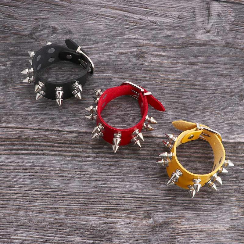 Браслет уникальные шипы заклепки шпильки широкий кожаный панк готические рок унисекс браслет женщины мужские браслеты ювелирные изделия