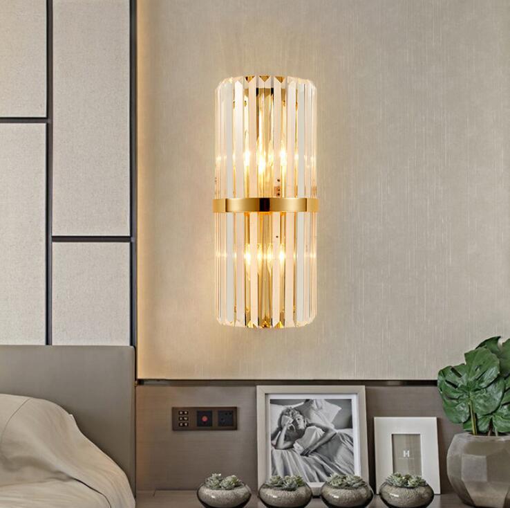Postmodern Minimalist Lampada da parete creativa Hong Kong stile luce soggiorno soggiorno camera da letto designer lampada da parete di cristallo