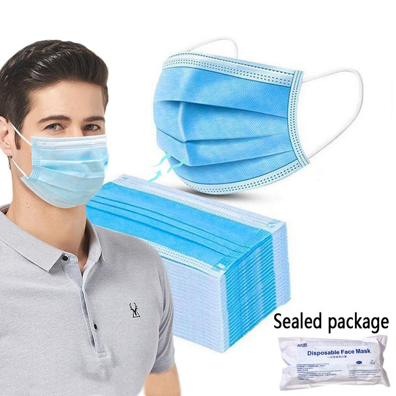 Ply Nova DHL frete grátis facial descartável 3 Máscaras respirável com vácuo Earloops confortável à prova de poeira máscara exterior Sealed Package