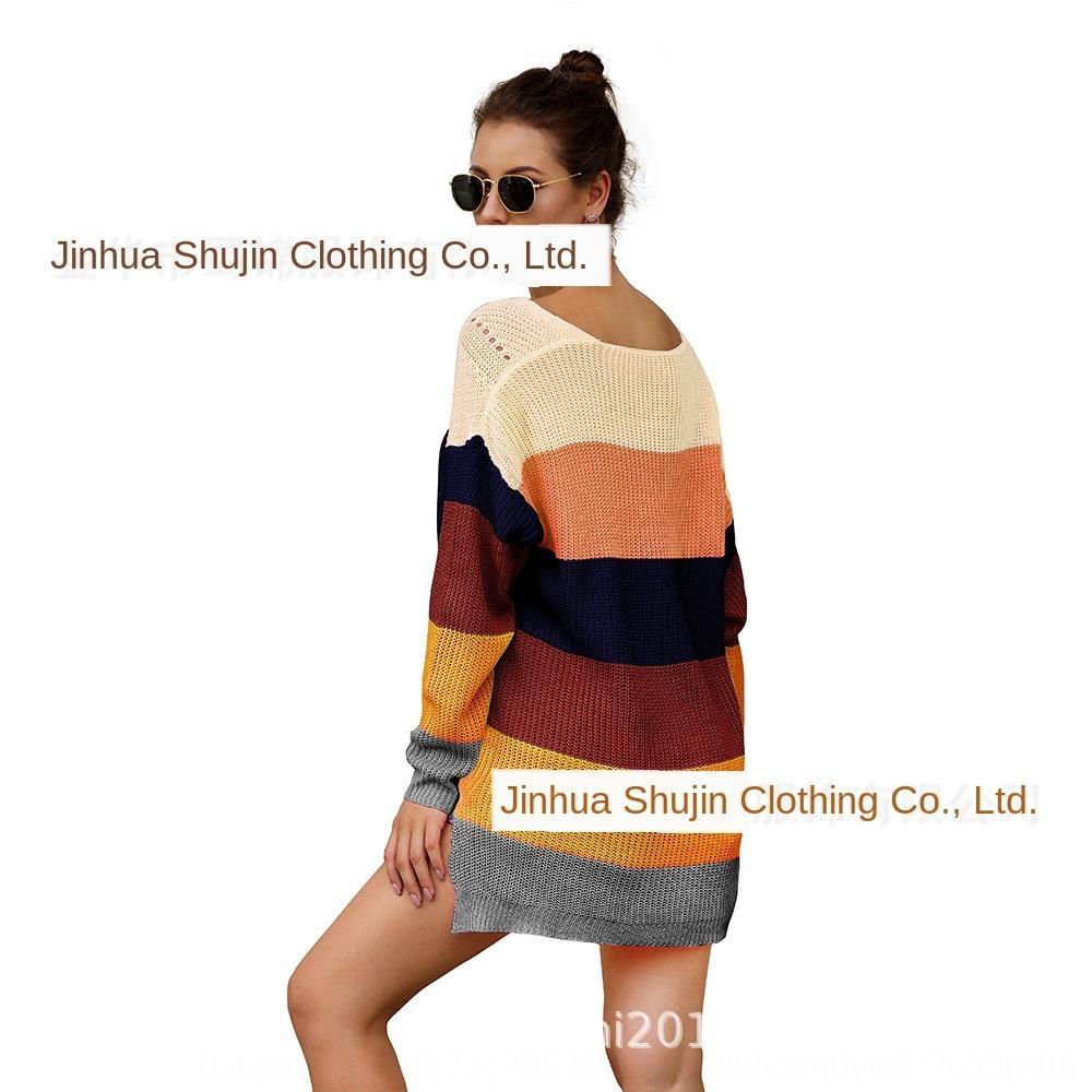 5Odkv primavera colore e pullover maglieria nuova corrispondenza arcobaleno 2020 allentato maglione del pullover estate manica lunga per le donne