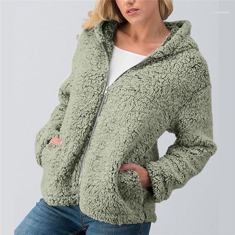 Pelz-Mantel Fest Donna Reißverschluss-Taschen-Pelz-Strickjacke mit Kapuze Weibliche beiläufige Oberseiten-Entwerfer-Frauen Faux